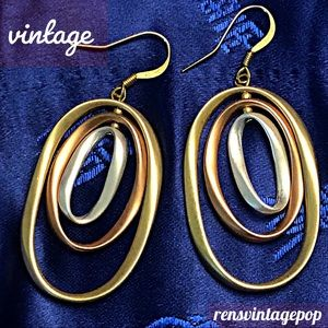 Vntg Tri Color Pierced Earrings
